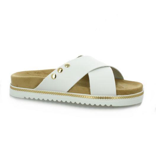 K. daques Nu pieds cuir blanc
