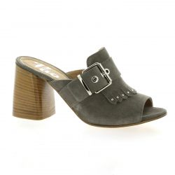 Pao Mules cuir velours gris