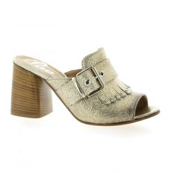 Pao Mules cuir laminé or