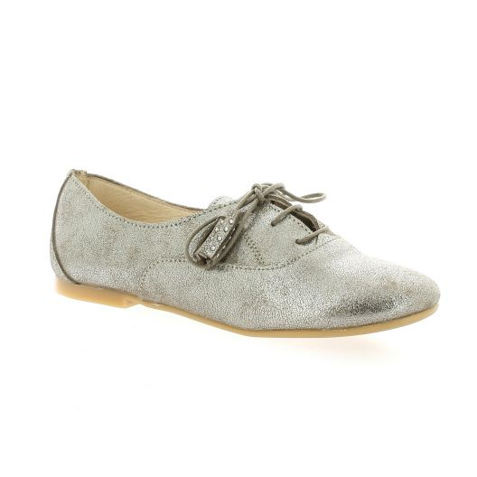 So Send Derby cuir laminé Taupe - Chaussures Derbies Femme