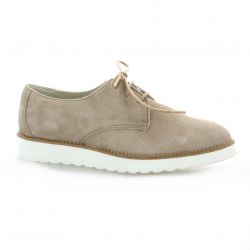 Latina Derby cuir velours taupe
