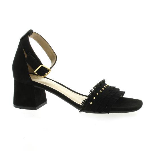 Alpe Nu pieds cuir velours noir