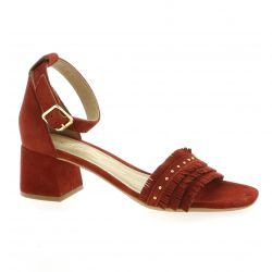 Alpe Nu pieds cuir velours rouge