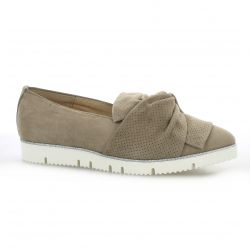 Alpe Mocassins cuir velours taupe