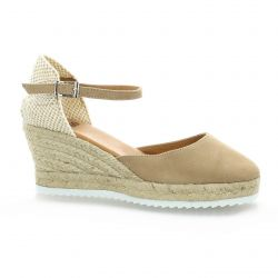 pao Espadrilles cuir velours camel