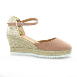 Pao Espadrille cuir velours rose