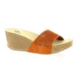 Pao Mules cuir velours orange