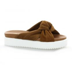 Pao Mules cuir velours cognac