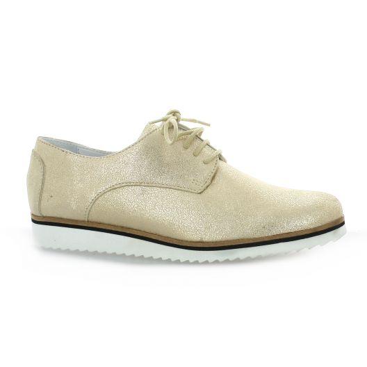 Elizabeth Stuart Derby cuir laminé  sable Sable - Chaussures Derbies Femme