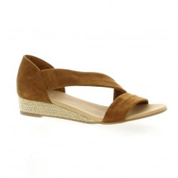 We do Nu pieds cuir velours camel