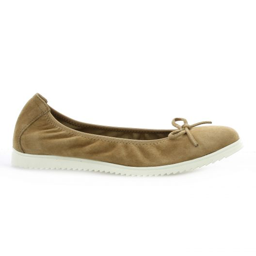 Latina Ballerines cuir velours camel