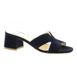 Pao Mules cuir velours marine