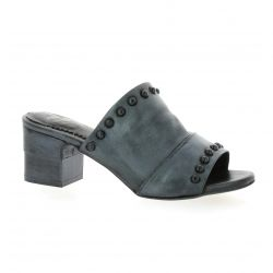 Pao Mules cuir laminé anthracite