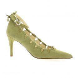 Elizabeth stuart Escarpins cuir velours kaki