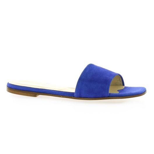 Elizabeth stuart Mules cuir velours bleu