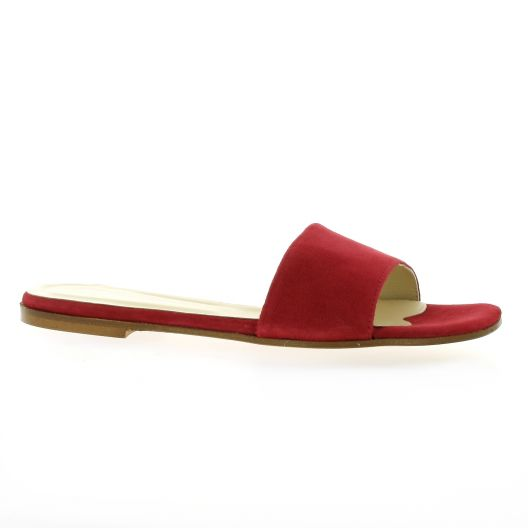 Elizabeth stuart Mules cuir velours rouge