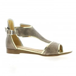 Mitica Nu pieds cuir laminé platine