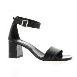 Elizabeth stuart Nu pieds cuir noir