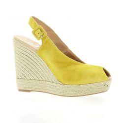 Clara duran Espadrille cuir velours jaune