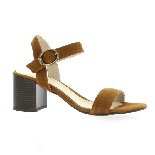 Pao Nu pieds cuir velours cognac