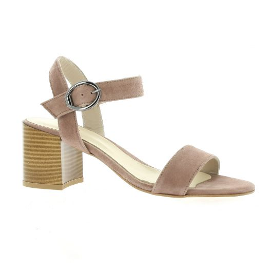Pao Nu pieds cuir velours rose
