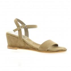 Elizabeth stuart Nu pieds cuir velours sable