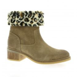 Minka design Boots cuir velours taupe