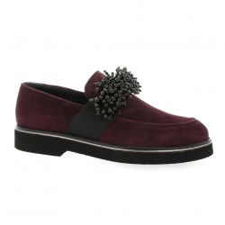 Mitica Mocassins cuir velours bordeaux