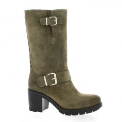 Pao Bottes cuir velours taupe