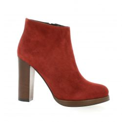 Fremilu Boots cuir velours rouge