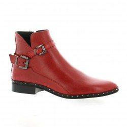 Mitica Boots cuir rouge