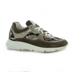 Mb78 Baskets cuir python taupe