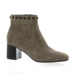 Adele dezotti Boots cuir velours taupe