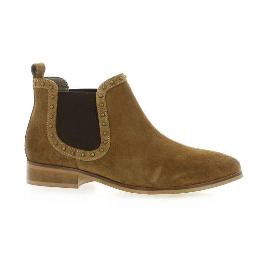 Mkd Boots cuir velours cognac