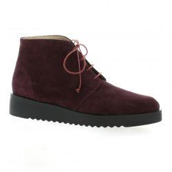 Brenda zaro Boots cuir velours bordeaux