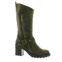 Pao Boots cuir velours kaki