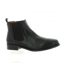 Exit Boots cuir python noir