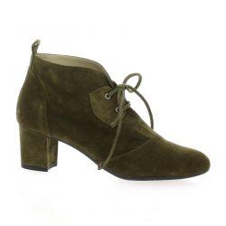 Brenda zaro Derby cuir velours kaki