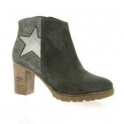 Reqins Boots cuir velours kaki