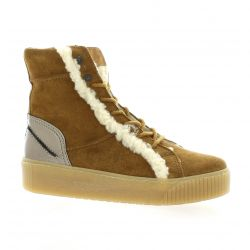 Reqins Baskets cuir velours camel
