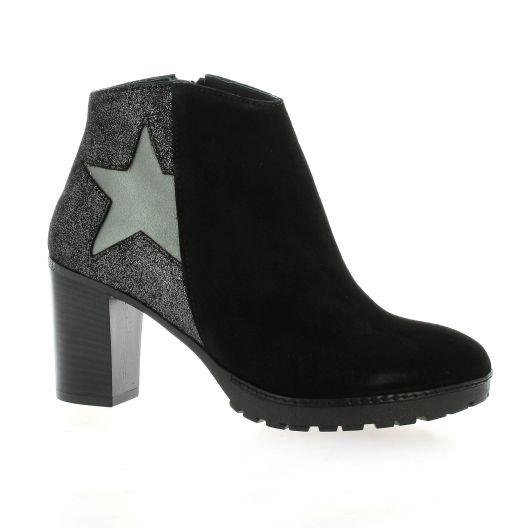 Reqins Boots cuir velours noir/argent