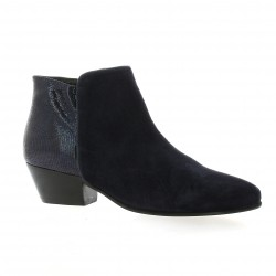 Boots cuir velours marine Impact
