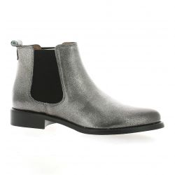 We do Boots cuir laminé argent