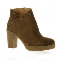 Reqins Boots cuir velours noisette