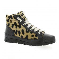 G-max Baskets cuir poulain leopard