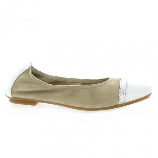 Reqins Ballerines cuir velours blanc/taupe