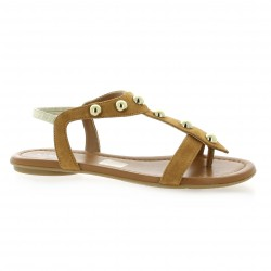 Reqins Nu pieds cuir velours camel