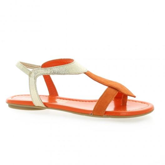 Reqins Nu pieds velours lamine orange