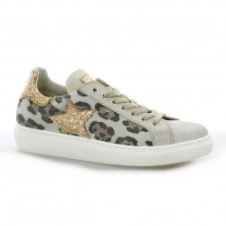 Reqins Baskets cuir laminé leopard
