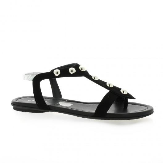 Reqins Nu pieds cuir velours noir